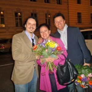 z Kasią i Piotrem Beczałą po jego spektaklu La boheme, Wiener Staatsoper, 05/2013